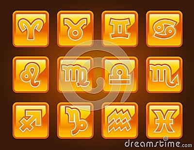 Gold Zodiac Symbols