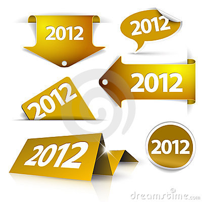 Free Golden 2012 Labels, Stickers Royalty Free Stock Photography - 21817317