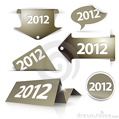 Free Golden 2012 Labels, Stickers, Pointers Stock Photos - 22333503
