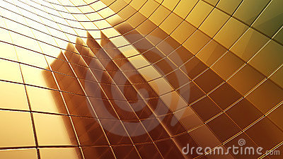 Golden 3d futuristic plate abstraction background