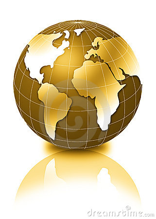 Free Golden 3d Globe Stock Image - 3317061