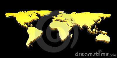 Golden 3D World map