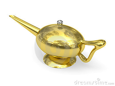 Golden Aladdin s lamp disposed by diagonal