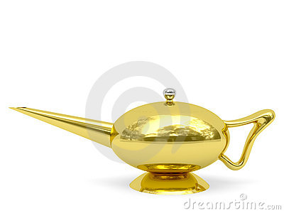 Golden Aladdin s lamp disposed horizontally