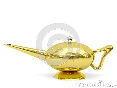 Golden Aladdin s lamp disposed horizontally