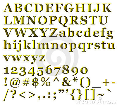 Golden Alphabetical Letters, numbers and symbols