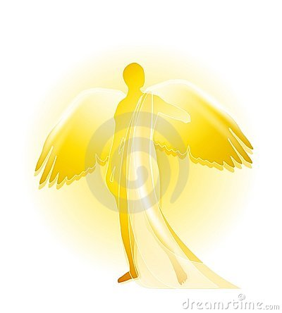 Free Golden Angel Silhouette Stock Image - 4433701