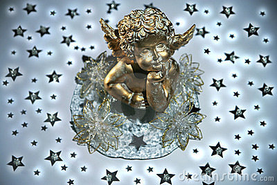 Golden angel with stars