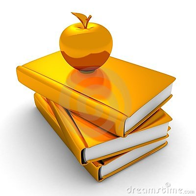 Golden apple on stack of books. education concept