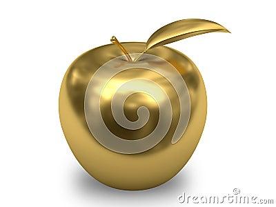 Golden apple on white background