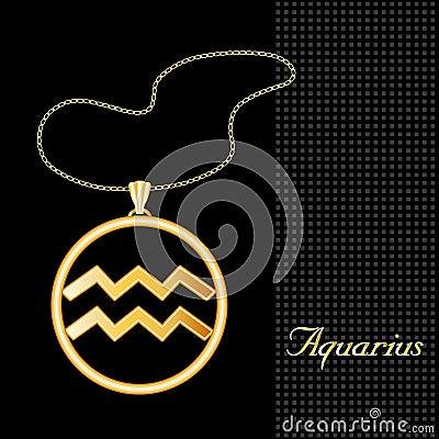 Golden Aquarius Pendant