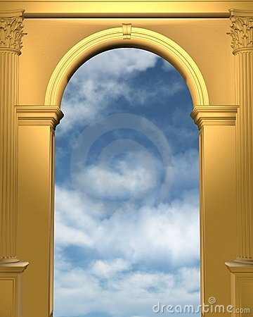 Golden archway with blue sky