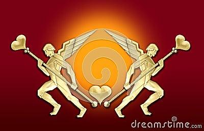 Golden art deco angel heart frame
