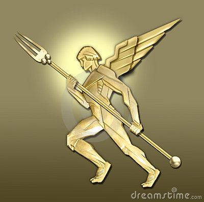 Golden art deco angel w/fork