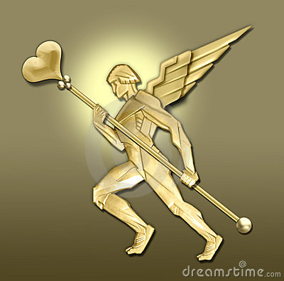 Golden art deco angel w/heart