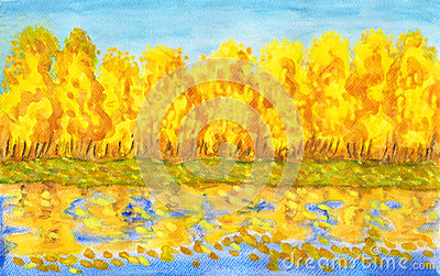 Golden autumn forest , painting