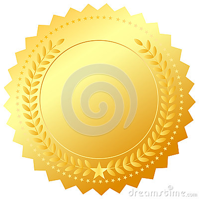Golden award medal