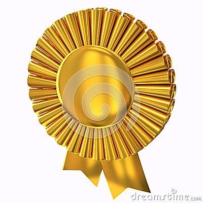 Golden award ribbon rosette