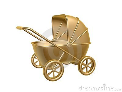 Golden baby carriage