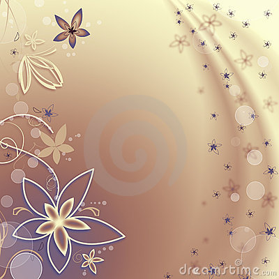 Golden background with flowers and bubbles