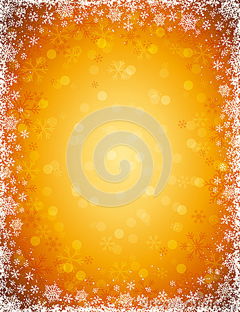 Golden background with  frame of snowflakes, vecto