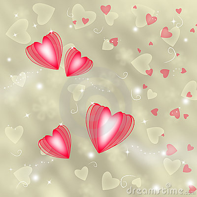 Golden background with red hearts