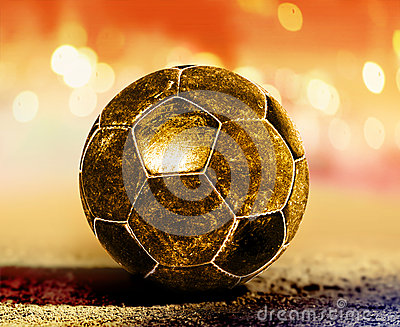Golden ball on ground
