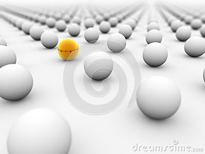Golden ball surrounded by white