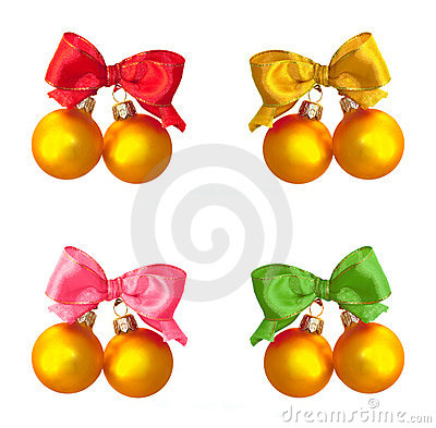 Golden balls with multicolored  satin bows