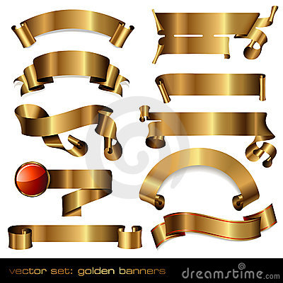 Free Golden Banners/scrolls Stock Images - 11999474