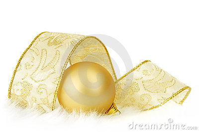 Golden Bauble and Ribbon