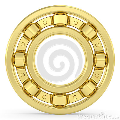 Golden bearing on white background