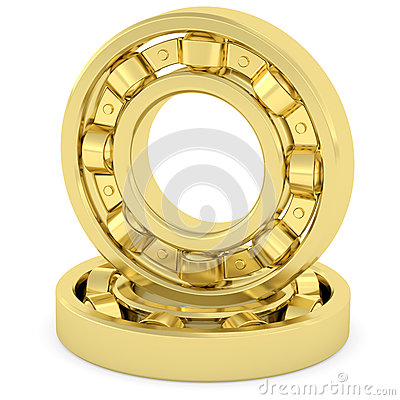 Golden bearings on white background