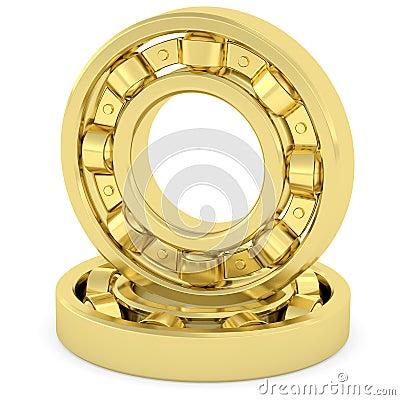 Golden bearings on white background