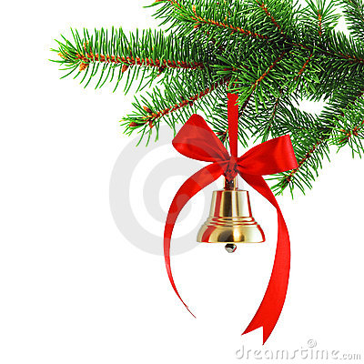 Free Golden Bell On A Spruce Branch Stock Photography - 18930712