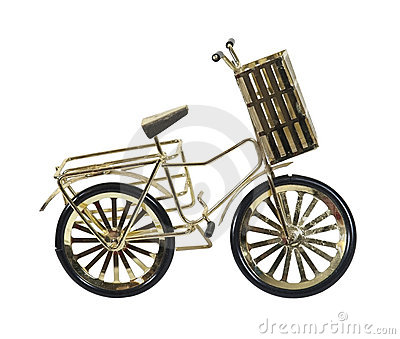Golden Bicycle with Basket