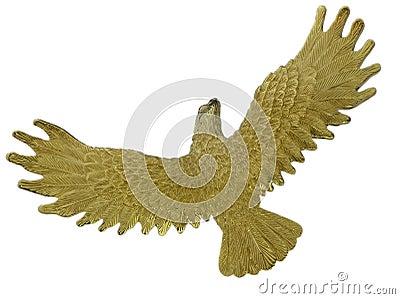Golden bird in flight
