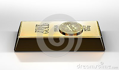 Golden Bitcoin laying on the gold ingot bullion bar. Bitcoin as a future gold most precious commodity in the world. Stock Photo