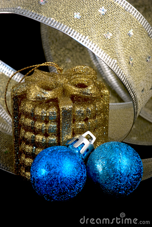 Golden and blue  christmas balls and  ribbon