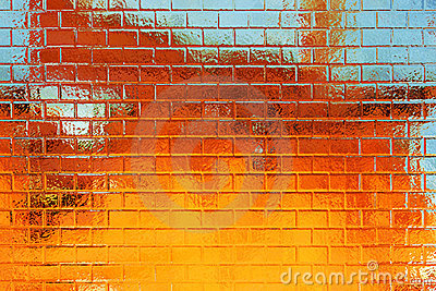 Golden-blue grunge brick wall background