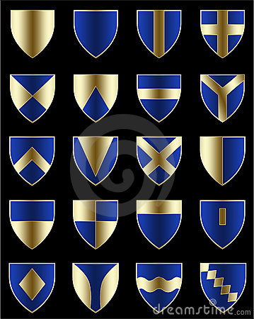 Golden blue shields