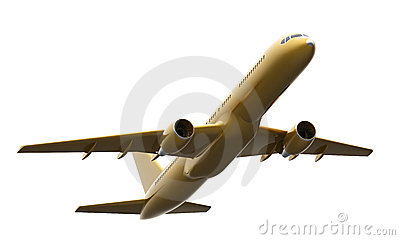 Golden Boeing 757 aircraft
