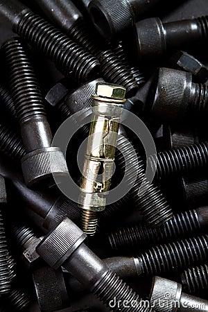 Golden bolt among black screw