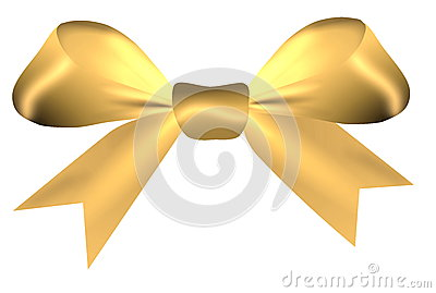 Golden bow isolated on a white background