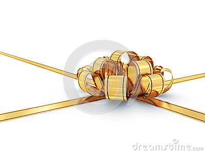 Golden bow and ribbon