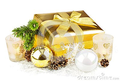 Golden box with twig Christmas tree and decoration