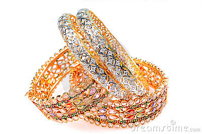 Golden Bracelets And Diamond Bangles Royalty Free Stock Images - Image: 8323099