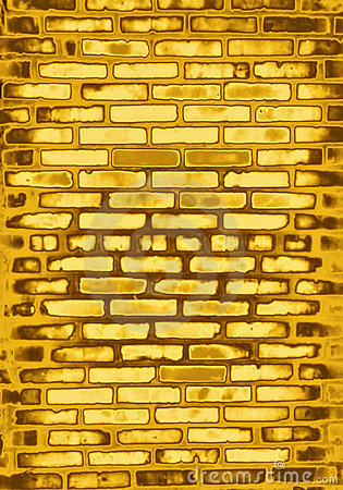 Golden brick wall