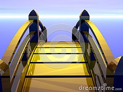 Golden bridge heading to future