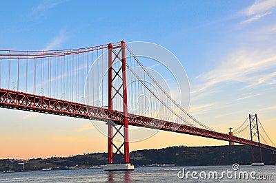 Golden bridge on sunset